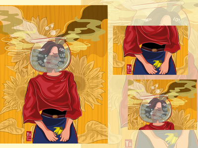 Contradiction-Woman Illustration illustration art adobe illustrator digital illustration vector illustration anxietyillustration girlillustration sadillustration graphic design illustration