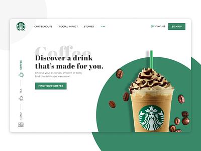 Starbucks Ui Design web design coffee app icon illustration logo typography minimal design branding ui