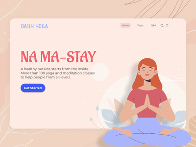Yoga Ui yoga illustration yoga app yoga pose yoga inspo yoga uiux website design typography illustration branding minimal ui