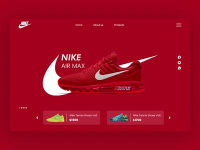 Nike Ui typography design ux red minimal app webui web shoes nike branding logo 3d