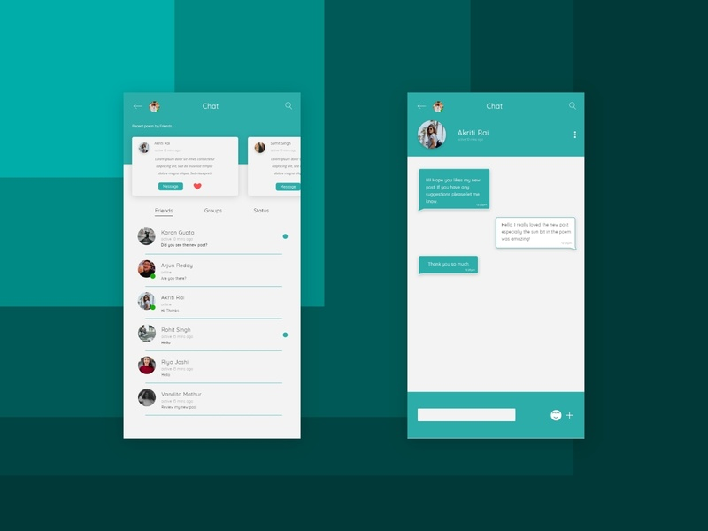 Direct Messaging App art flat app web typography ux design dailyui minimal ui