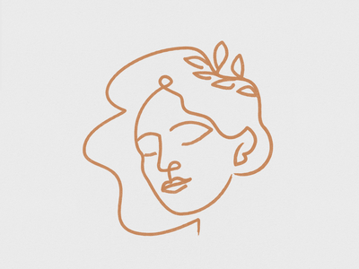 Nature leaves plants esoteric girl woman logo lineal design icon mystic illustration