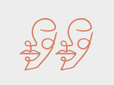Twins mystic flow logo woman logo monoline drawing terracota girl woman lineal illustration face twins gemelli