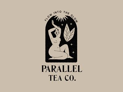 Parallel Tea Logo - 01 esoteric body woman leaves mystic design girl nude illustration branding logo tea