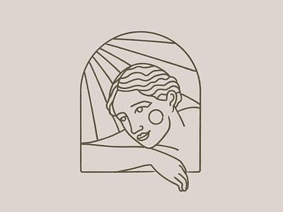 Under the sun window sunset sun branding body nude vector woman girl logo design mystic illustration
