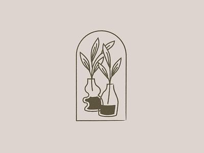 Plants brand identity brand design brand lineal vector design illustration plants