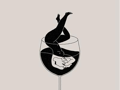 Drink wine, feel fine illustration design wine glass woman body girl wineglass wine bottle winery wine label wine