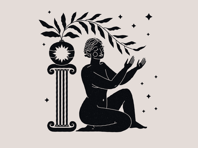 It's a kind of magic nude esoteric branding vector mystic illustration body femme woman portrait girl woman illustration magic woman