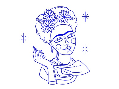 Frida Kahlo design icon illustration homenaje mexico draw lines blue fanart frida