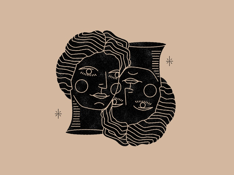 Twins gemini astrology twins heads woman branding vector logo dots nude mystic girls color icon lineal girl design illustration