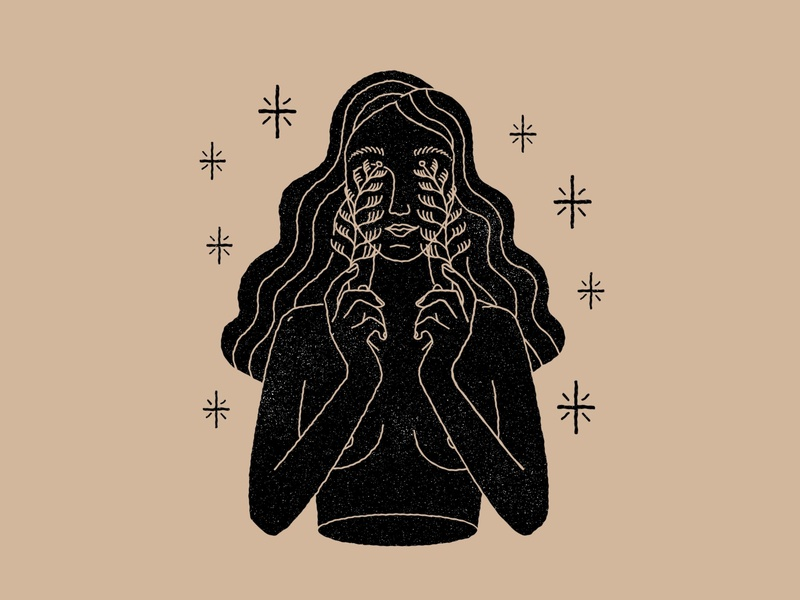 Girl, plants and stars stars hand icon illustration astrology magic esoteric branding girls color vector logo hands woman nude body girl mystic design lineal