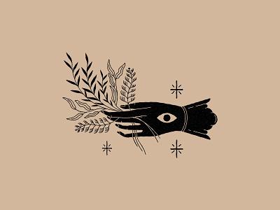 Bouquet lineal branding logo icon illustration vector magic stars tarot eye plants esoteric mystic hand bouquet