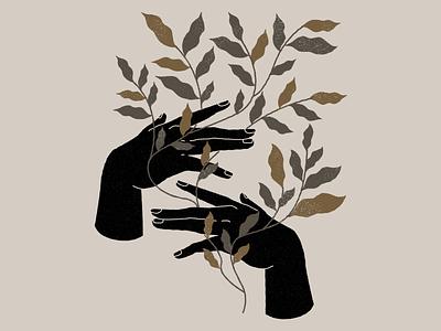 Botanical hands vector woman botanical illustration nature botanicals lineal design logo branding illustration mystic botanic botanical