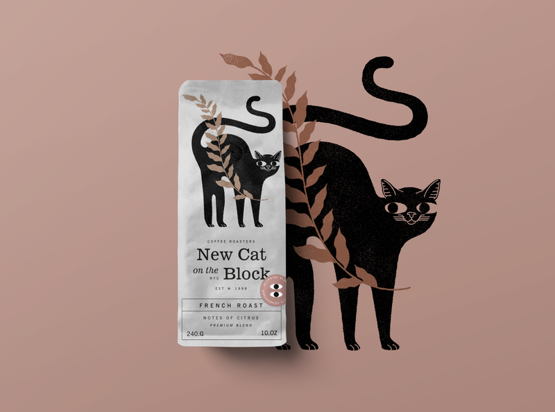 New Cat on the Block - Coffee Packaging cats plant plants animals design illustration packagingdesign graphicdesign packaging design package design package blackcat cat cafe roasters coffee packaging