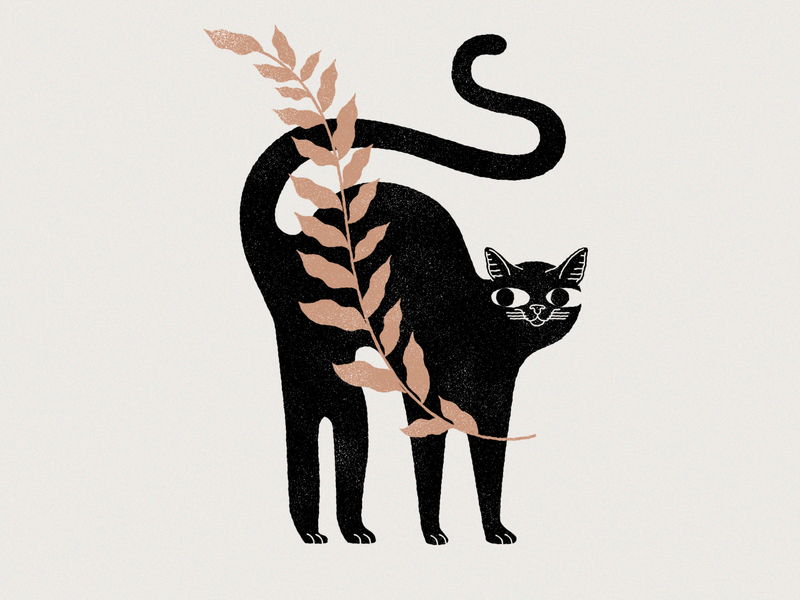 New cat on the block kitten plants botanic plant cats cat branding logo mystic design lineal illustration