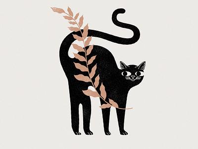 New cat on the block kitten plants botanic plant cats cat branding logo mystic design lineal illustration