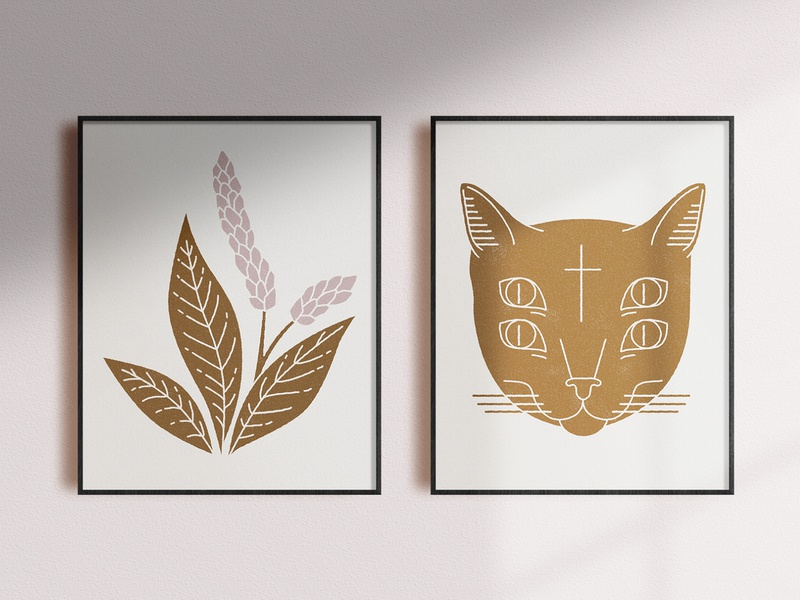 Cat and plants - Posters prints poster botanical plant cats cat branding illustration mystic design icon