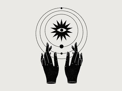 Universo vector design icon university space hands mystic magic esoteric astral planets illustration universe