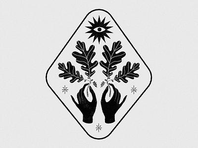 The sun esoteric color hands branding vector logo mystic design lineal illustration plants sun