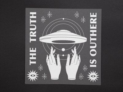 The truth is outhere branding vector logo mystic icon space stars hands ovni ufo illustration