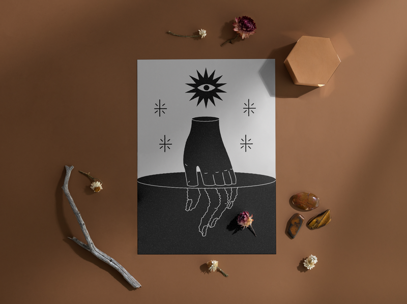 When de sun goes down icon logo tarot cards poster printable print graphic  design black  white hand esoterism tarot design mystic lineal illustration