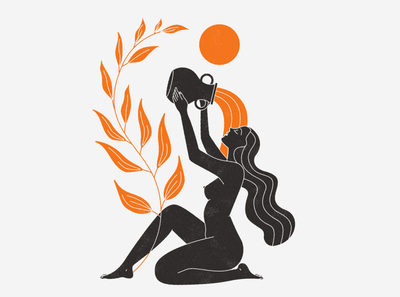 Aquarius esoteric vector girl body nude woman mystic illustration zodiac astrology aquarius