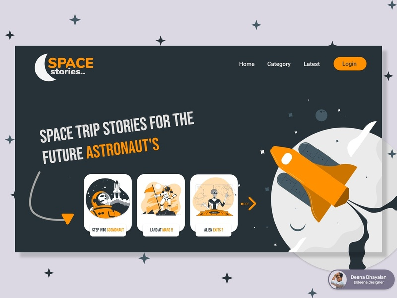 Creative Landing page (Space Stories)