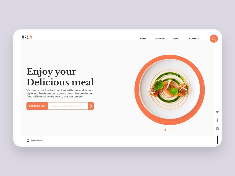 Mealy Landing page dashboard ecommerce design ecommerce meal food app website design restaurant food website landing page landingpage illustration minimalist dailyui adobe xd adobe ux dribbble ui design food