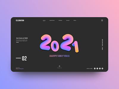 Happy New Year 2021 gradient minimalist ux ui typogaphy 3d design 3d mockups 2021 new year happy new year website design web design