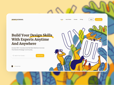 Design School Landing Page illustrations hero section header freebies dailyui 3d minimalist mockups ux ui ui  ux landing page website design e-learning