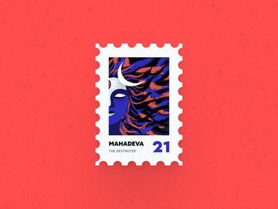 Post Stamp Series: The Destroyer school uiux design series design vector 3d ux ui minimalist figma illustration lord shiva