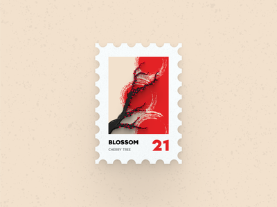 Post Stamp Series: Blossom series wallpaper freebie minimalist flat vector 3d mockups illustration ux ui trees blossom postcard stamps chinese