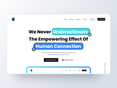 Connecty Landing page avatar concept design header freebies free dailyui 3d mockups illustration dribbble minimalist ux ui