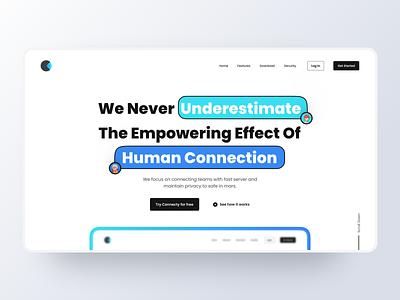Connecty Landing page avatar concept design header freebies free dailyui 3d mockups illustration dribbble minimalist ux ui