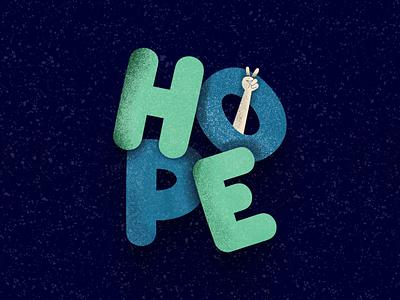 Hope Illustration grain texture cartoon illustration typography vector freebies free ui ux dailyui 3d mockups illustration hope