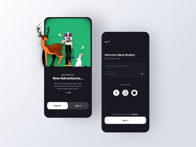 Adventures App dark mode dark ui sign up login screen login page freebies free dailyui 3d mockups dribbble illustration ux design ui
