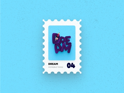 Post Stamp Series: Dream logo typography art freebies artist typography vector minimalist 3d illustration dream