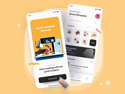 Food Recipe App 🍳 mockups ux freebies ui 3d minimalist mobile food app recipe app