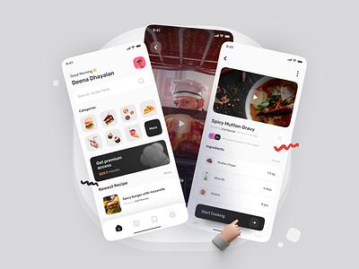 Food Recipe App 🍳 app mobile ui freebies mockups 3d minimalist cooking cooking app recipe app food recipe