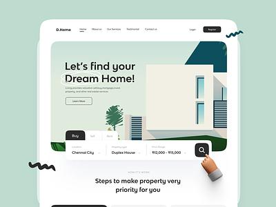 Real Estate website 🏡 product design freebies ui minimalist header section website house housing real estate real-estate