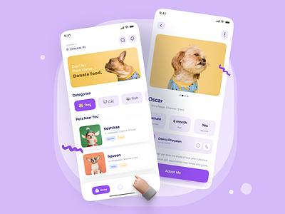 Pet Adoption App 🐶😺 ui minimalist 3d mockups product design mobile pet app adoption pet adoption pet adoption app pet