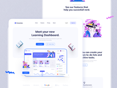 Learning Dashboard landing page 📖 3d minimalist book educational e-learning dashboard saas landing page saas landing page website web design