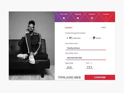 Daily UI Challenge #002 - Credit Card Checkout website minimal web ux ui design