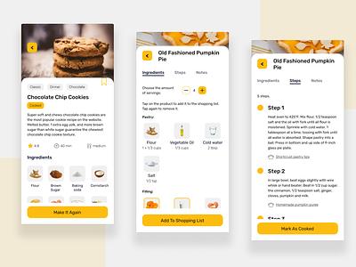 Cooking App design concept food app food and drink food appux app appui ux ui design