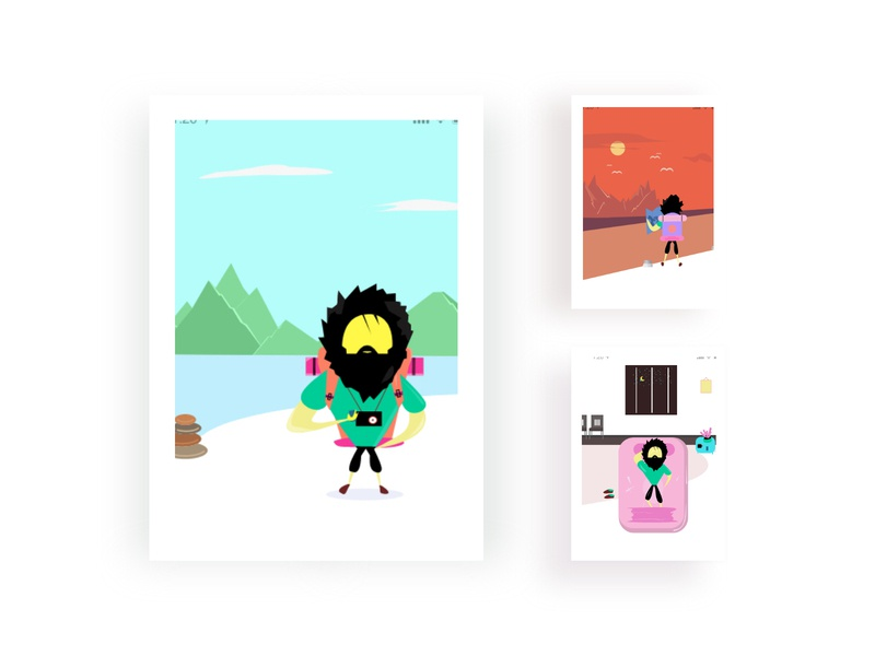 Travel mobile app location hotel vector illustrator mobile ui