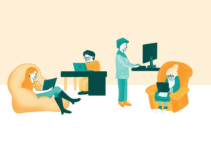 Personas busy tech laptops granny boy analytics website web vector ui illustrator illustration art app personas buyer