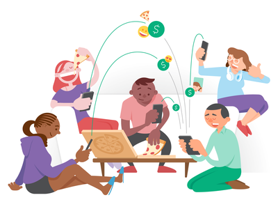 Circle Pay website illustrations pattern spot illustration marketing fintech circle pay character design characters sketching sketches illustrator branding circle illustration