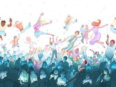 UX Fest 2014 •Full illustration event illustration crowd people pastels ux fest 2014 fresh tilled soil kyle t webster brushes