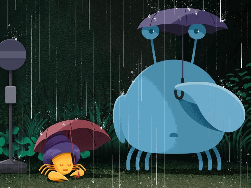 Circle wallpaper: March 2017 hayao miyazaki studio ghibli totoro crab umbrella rain march wallpaper phone design illustration circle