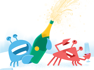 Circle wallpaper: January 2017 new year party celebration champagne wallpaper phone illustration design crab circle